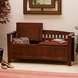 Linon Short Back Storage Bench, Walnut