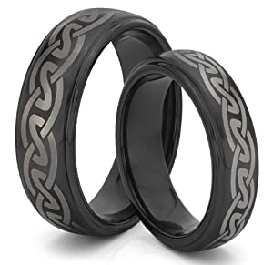 His & Her's 8MM/6MM Tungsten Carbide Black Celtic Knot Wedding Band Ring Set (Available Sizes 4-14 Including Half Sizes)