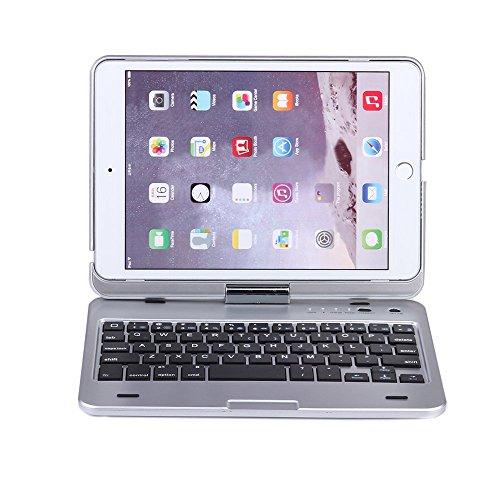 iPad Mini Keyboard, Moleboxes Swivel 360 Degree Rotatable Bluetooth Keyboard Case - IPad Mini Bluetooth Keyboard - Compatible IPad Mini 3 / IPad Mini 2 / IPad Mini (Silver) (Ipad Mini 3 Keyboard Cover compare prices)