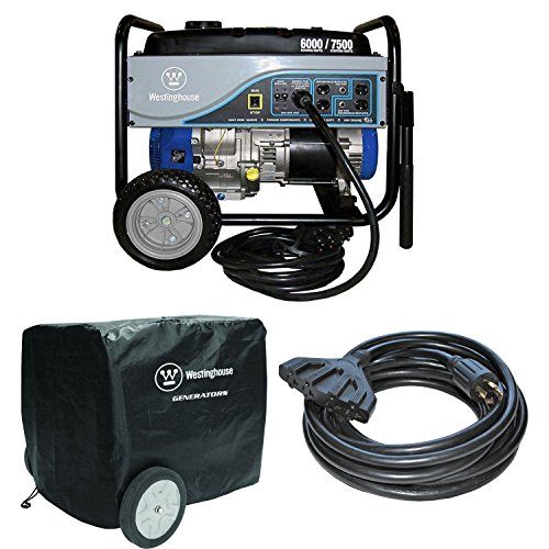 Westinghouse WH6000S 6000W Gas Generator, (2) 30A 25′ Power Cords, Outdoor Cover