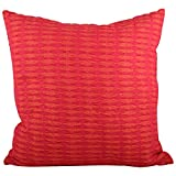 "Swadeshi Store Exclusive Textured Weave 100% Handwoven Cotton Cushion Cover - Pink (16""X16"")"