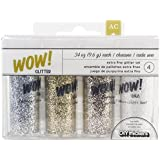 American Crafts 4-Piece DIY Shop WOW! Extra Fine Glitter, 0.34-Ounce, Silver/Gold/Brown Sugar/White