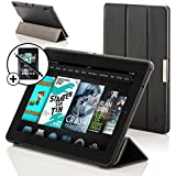 """ForeFront Cases® All-New Kindle Fire HD 7"""" Leather Case Cover / Stand WILL ONLY FIT - All-New Kindle Fire HD 7"""" Tablet October 2013 with Magnetic Auto Sleep Wake Function + Stylus Pen and Sceen Protector Worth £7.50 - BLACK"""