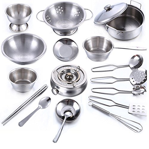 18 Piece Kitchen Cookware Playset, YIFAN Stainless Steel Pretend Play Cooking Toys for Kids - Silver (Valentines Cookware compare prices)