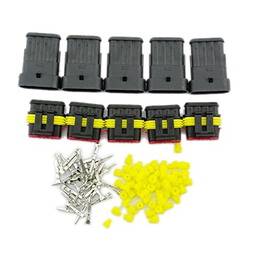 Yiding 5 Kit Set Car Waterproof Electrical Wire Connector Plug 4 Pin Way Terminals Hid
