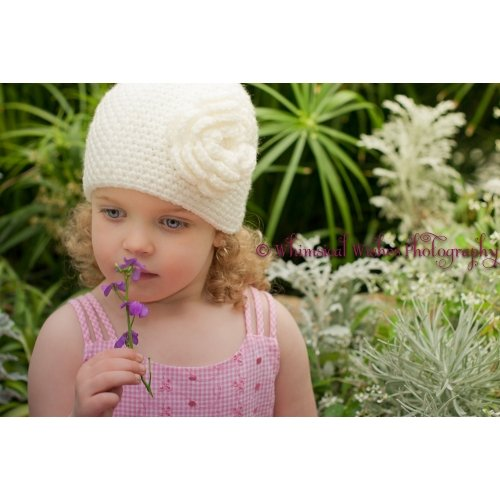 Crochet Winter White Ivory Pink Grey Girly Cloche Hat