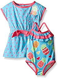 Wippette Baby Pineapple Swim and Cover Up Set, Blue Fish, 0-6