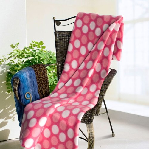 [Wave Point - Pink/White] Soft Coral Fleece Throw Blanket (59 by 79 inches)