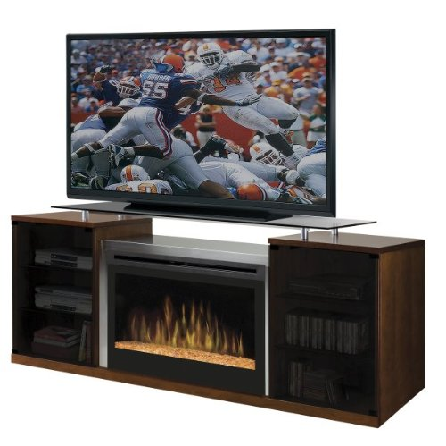 Dimplex Symphony Media Marana TV Stand with Electric Fireplace in Cherry - Glass Ember Bed picture B00496APYW.jpg