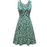 Herou Women Sleeveless Beach Casual Flared Floral Tank Dress