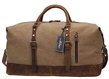 Iblue Unisex 21.6 Inch Oversized Canvas Leather Travel Duffel Bag 2