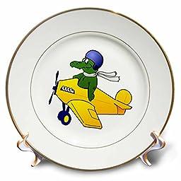 Florene - Childrens Art V - Print of Alligator Flying A Plane - 8 inch Porcelain Plate (cp_218980_1)