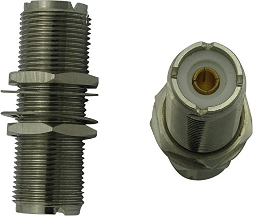 """Super Power Supply® 1.75"""" inch UHF Double Female Bulkhead Adapter Coax Coaxial Connector for Through-Wall Ham Use SO239 SO-239"""