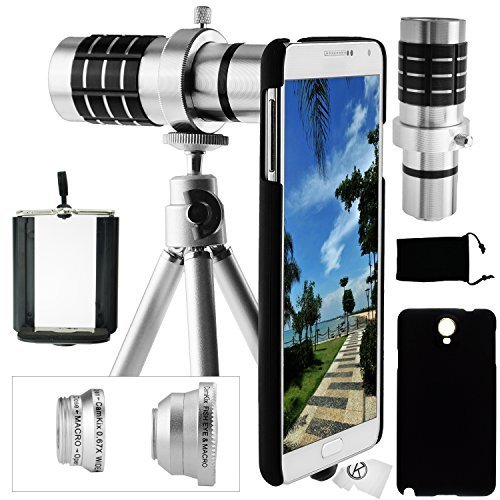 Samsung galaxy note 3 camera lens kit - 12x telephoto lens, fisheye lens, wide angle & macro lens, and accessories(silver)