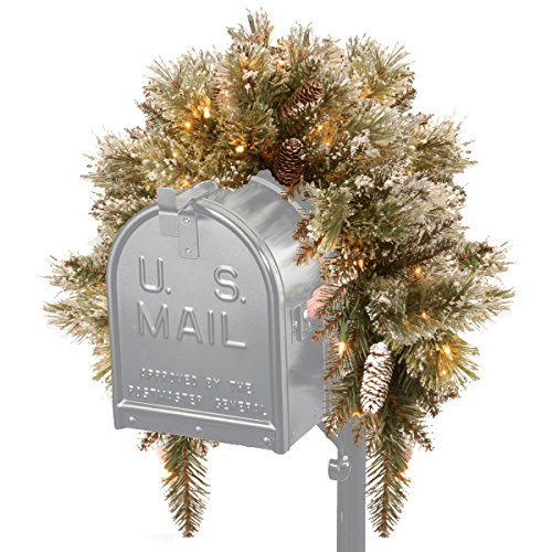 National Tree Glittery Bristle Pine Mailbox Swag With 9 White Tipped Cones, 3-Feet
