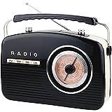 Retro Radio Weltempfänger Nostalgie 50er Jahre Vintage Design Küchenradio Nostalgieradio Kofferradio (Schwarz)