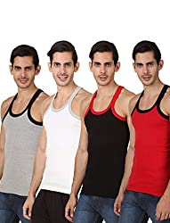 HAP KINGS RIB MENS GYM VEST MULTICOLOR PACK (PACK OF 4)