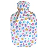 Warm Tradition Colorful Paws Cotton Flannel Hot Water Bottle Cover- COVER ONLY- Made in the USA
