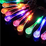 Goodia Outdoor Solar String Lights/Halloween/Chirstmas 15.7ft 20 LED Multi-Color Crystal Raindrop Solar Powered Waterproof Fairy Lights for Garden Patio, Lawn, Fence Path, Yard, Party Landscape Decoration