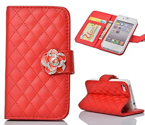 iphone 5 Case,iphone 5S Case, Welity Red Color Camellia Soft Leather Grid Crystal Pu Leather Wallet Case for Apple iPhone 5/5S/5G and one gift