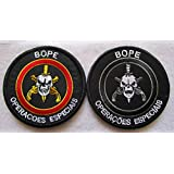 2pc BOPE Brazil Army Rio DE Janeiro TROPA DE Elite Troop 3D Tactical Military Badges Embroidered Patch Back with Loops and Hook (2pc) (Color: 2pc)