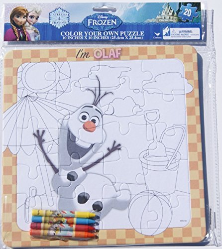 Frozen Olaf Color Your Own Puzzle with Crayons - 20 Piece - 1