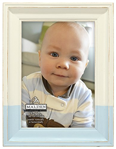 Malden International Designs Rustic Wood Fashion Off-White Picture Frame with Blue Dip to Hold 5 by 7-Inch Photo