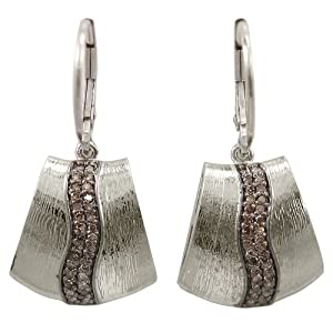 Sterling Silver Brown Diamond Swish Brushed Earrings (1/3 cttw)