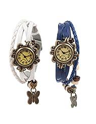 Felizo Combo Offer - Pack Of 2 Multi Strap White & Blue Fancy Butterfly Bracelet Vintage Watch
