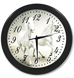 Modern home decor wall horse printing clock - Black and white kitchen clock ...