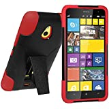 Amzer Double Layer Hybrid Case Cover with Kickstand for Nokia Lumia 1320 - Black/Red