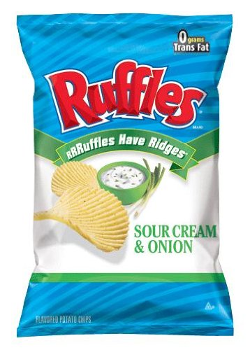 Frito Lay Ruffles Sour Cream & Onion Flavored Potato Chips, 9Oz Bags (Pack Of 12)
