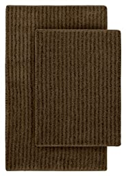 Garland Rug 2-Piece Sheridan Nylon Washable Bathroom Rug Set, Chocolate