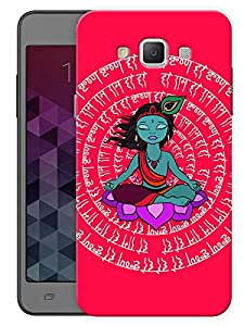 "Humor Gang Krishna Meditating Peace Mantra- Red Printed Designer Mobile Back Cover For ""Samsung Galaxy A7"" (3D, Matte, Premium Quality Snap On Case)"