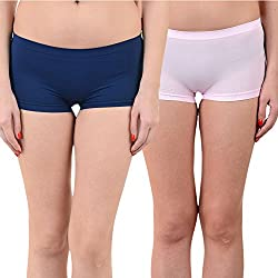 Mynte Women's Sports Shorts (MEWIWCMBP-SHR-105-97, Navy Blue, Baby Pink, Free Size, Pack of 2)