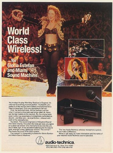 1990 Gloria Estefan Miami Sound Machine Audio-Technica Microphone Photo Print Ad (Memorabilia) (56136)