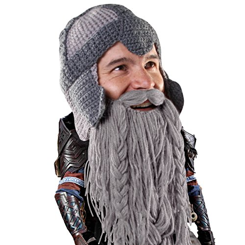 Beard Head - The Original Barbarian Warrior Knit Beard Hat (Grey) Sporting Go...