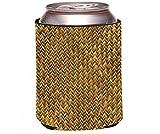 Rikki Knight Grunge Gold Basket Weave Design Beer Can Soda Drinks Cooler Koozie