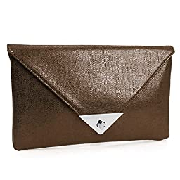 BMC Womens Shiny Luster Brown Sheen PU Synthetic Material Envelope Flap Clutch Fashion Handbag
