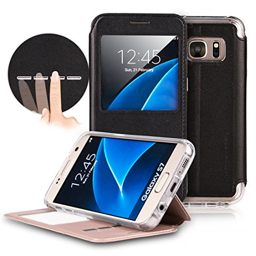 Galaxy S7 Case, G-CASE® [New Sense] Folio Flip PU Leather Case Window View Stand Function Smart Unlock Touch Metal Sensor Answer Calls for Samsung S7-Black (Windows Phone New compare prices)