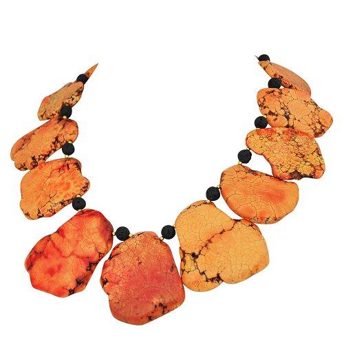 Orange Turquoise Necklace,Statement Necklace - 17.7 Inches Orange Turquoise Necklace with Beads