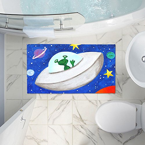 DiaNoche Designs Bath Mats Made of Memory Foam Unique Decorative Designer by nJoyArt - Flying Saucer