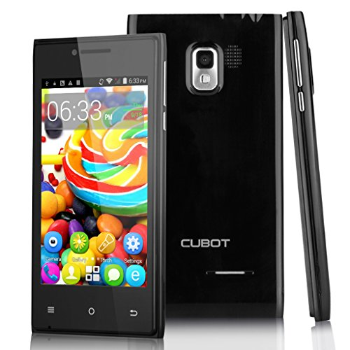 4,0 Zoll Cubot GT72+ 3G Smartphone Android 4.4.2 KitKat Dual Core Dual Handy ohne Vertrag 4G ROM WIFI 1.2GHz 2 Kameras Schwarz