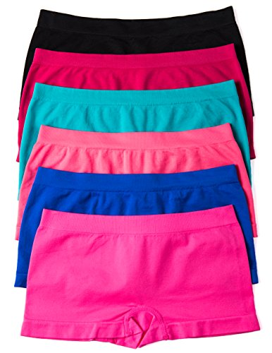 CC Junior's Seamless Nylon/spandex Boyshort Panties in Neutral Colors (Large/X-Large, 6 Pack:COLORFUL)