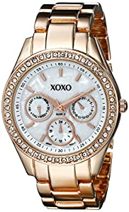 XOXO Women's XO5386  Rhinestone Accent Rose Gold Dress Watch