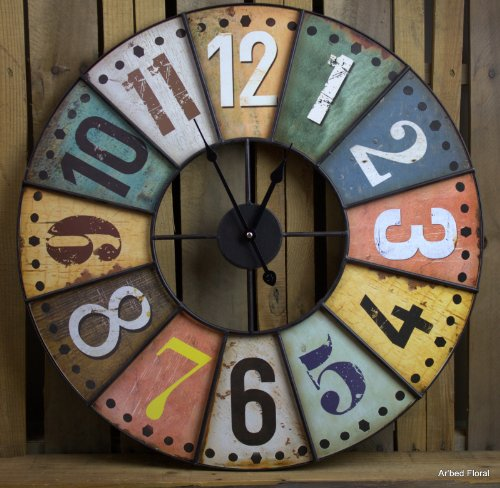 """23"""" Large Colored Industrial Style Wooden / Metal Wall Clock Iron Metal front-787361"""