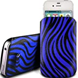 BLUE ZEBRA PREMIUM PU LEATHER PULL FLIP TAB CASE COVER POUCH FOR ACER LIQUID MINI E310 BY N4U ACCESSORIES
