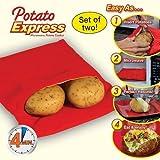 Urban Living Potato Express Microwave Potato Cooker(25.4X18.7X2.5 Cm,Red)
