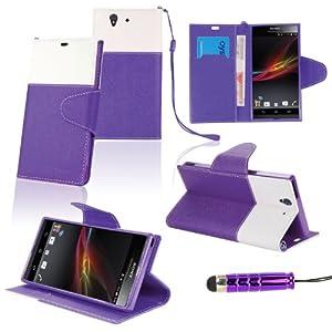 SAVFY® Premium Hybrid Wallet Stand PU Leather Case Cover for Sony Xperia Z L36h Bonus: Screen Protector + Mini Stylus Pen (Purple)