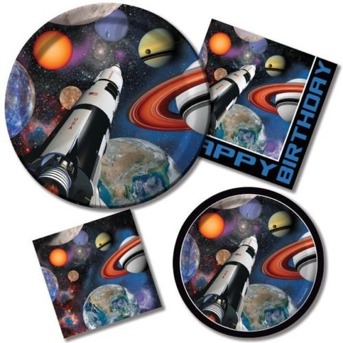 Space Blast Basic Party Pack for 8 - Plates, Cups, Napkins & Tablecover
